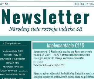 NEWSLETTER Národnej siete rozvoja vidieka SR   18/2020