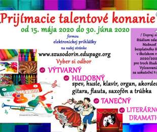 Prijímacie konanie   Súkromná základná umelecká škola Odorín   aktualizácia - do 30.6.2020