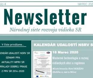 NEWSLETTER Národnej siete rozvoja vidieka SR | 04/2020