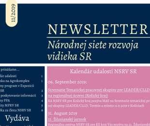 NEWSLETTER Národnej siete rozvoja vidieka SR | 11/2019