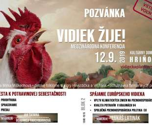 Pozvánka na medzinárodnú konferenciu VIDIEK ŽIJE! | 12.9.2019 - Hriňová